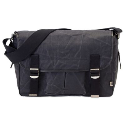 OiOi® Men's Crushed Canvas Satchel Diaper Bag in Black