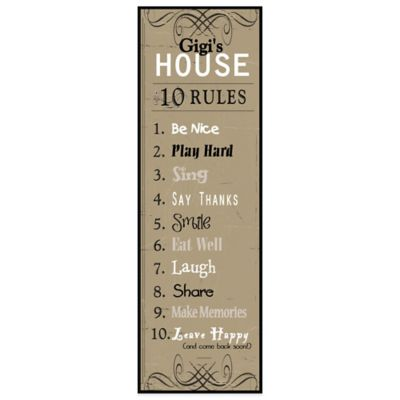 The Grandparent Gift Co Gigi's House Rules Wall Plaque