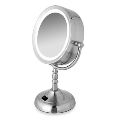 Two-Sided Daylight Fluorescent Mirror with Brushed Nickel Finish