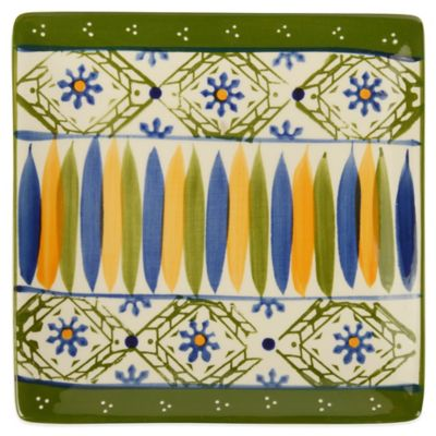 Global Handpainted Square Plate in Cream/Green/Multi