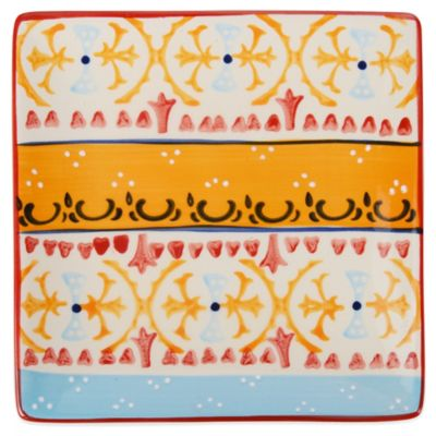 Global Handpainted Square Plate in Cream/Orange/Multi