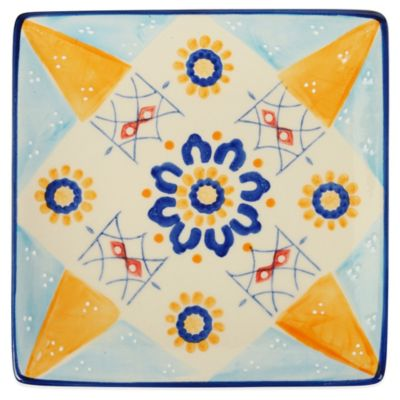Global Handpainted Square Plate in Cream/Blue/Multi