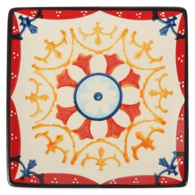 Global Handpainted Square Plate in Cream/Red/Multi