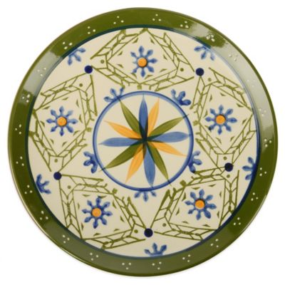 Global Handpainted Salad Plate in Cream/Green/Multi