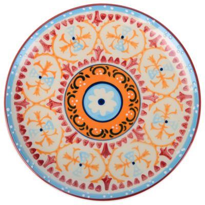 Global Handpainted Salad Plate in Cream/Orange/Multi