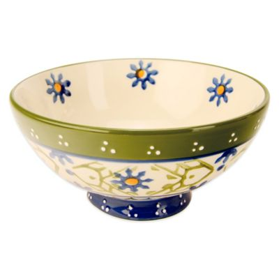 Global Handpainted Utility Bowl in Cream/Green/Multi