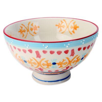 Global Handpainted Rice Bowl in Cream/Orange/Multi