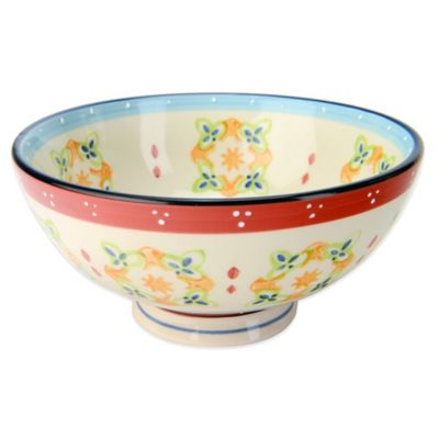 Global Handpainted Utility Bowl in Cream/Red/Multi