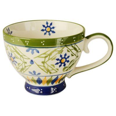 Global Handpainted Mug in Cream/Green/Multi