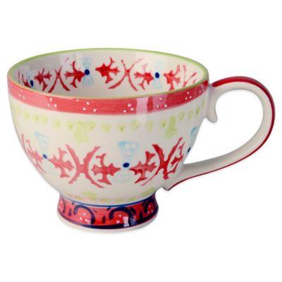 Global Handpainted Mug in Cream/Red/Multi