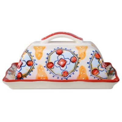 Global Handpainted Covered Butter Dish in Cream/Red/Multi