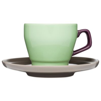 Sagaform® POP Cup and Saucer in Green/Plum/Grey