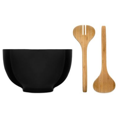 Sagaform® Season Stoneware Salad Bowl with Bamboo Utensils