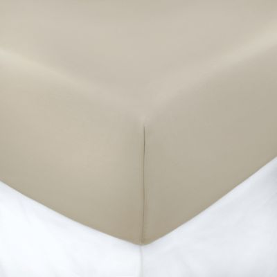 400-Thread-Count 39-Inch x 75-Inch with 3-Inch Deep-Pocket Cotton Sateen Twin Fitted Sheet in Taupe
