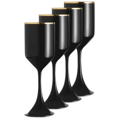 Fitz and Floyd Onyx Gold Wine Glasses (Set of 4)