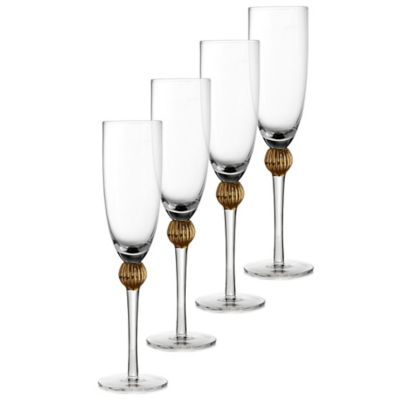 Fitz and Floyd® Gold Medley Toasting Flutes (Set of 4)