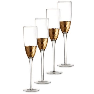 Fitz and Floyd® Daphne Toasting Flutes in Gold (Set of 4)