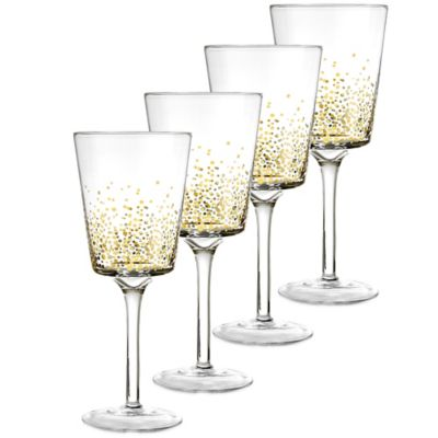 Fitz and Floyd® Luster Red Wine Goblets in Gold (Set of 4)