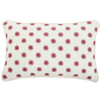 Bridge Street Spring Dahlia Oblong Throw Pillow in White