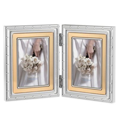Vera Wang Wedgwood® With Love Gold 2-Opening 2-Inch x 3-Inch Picture Frame