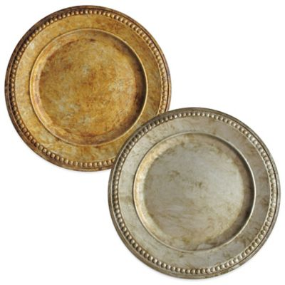 Charge It by Jay 14-Inch Beaded Charger Plates in Gold (Set of 4)