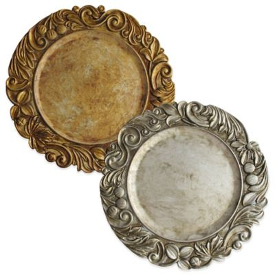 Charge it by Jay Flower Charger Plates in Silver (Set of 4)