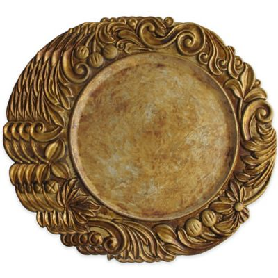Charge it by Jay Flower Charger Plates in Gold (Set of 4)