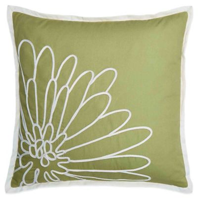 Bridge Street Spring Dahlia Square Throw Pillow in Green