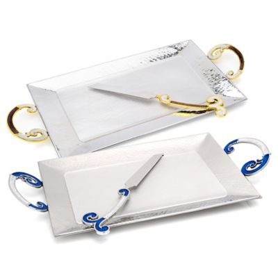 Classic Touch Challah Board with Knife in Blue & White