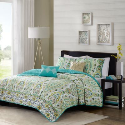 Intelligent Design Tasia 5-Piece Full/Queen Coverlet Set in Green