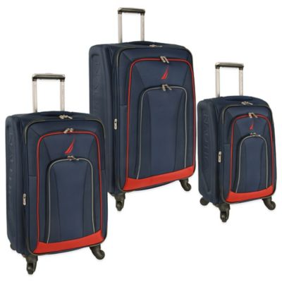 Nautica® Timoneer 3-Piece Expandable Upright Spinner Set in Navy/Red