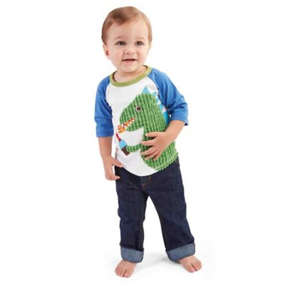 Mud Pie® Small Dino Birthday 3/4-Length Sleeve Shirt in Blue/Green