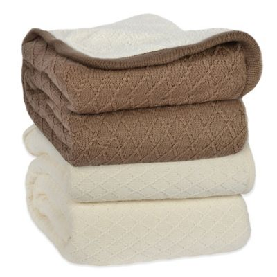 Berkshire Diamond Sweater Knit Reversible Twin Blanket in Cream