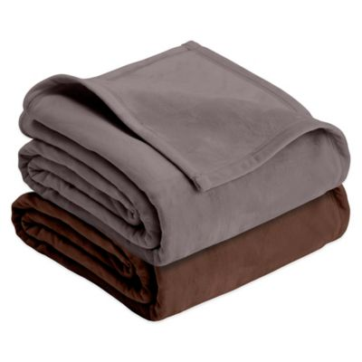 Vellux® Plush Twin Blanket in Chocolate
