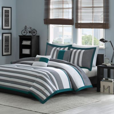 Intelligent Design Sven Reversible 5-Piece Full/Queen Comforter Set in Teal
