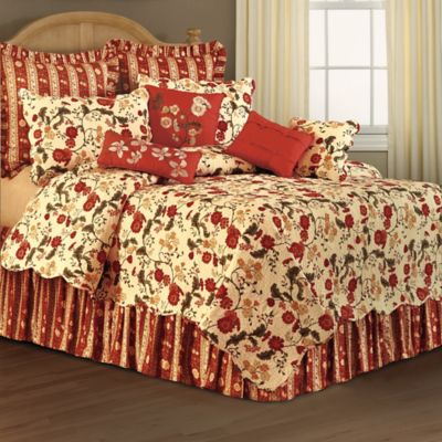 Red Carlisle Floral Reversible Full/Queen Quilt