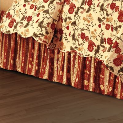 Red Carlisle Floral King Bed Skirt