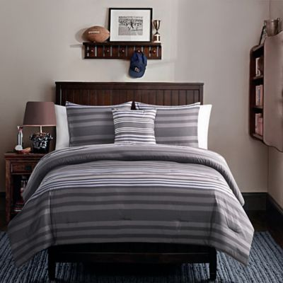 Baxter 4-Piece Twin Comforter Set in Black/Grey
