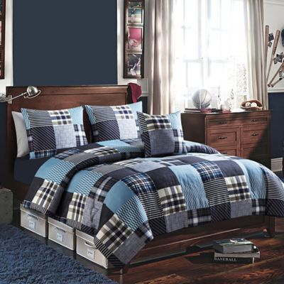 Martin 4-Piece Twin Comforter Set in Blue
