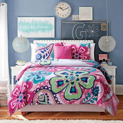 Kimberly 4-Piece Reversible Twin Comforter Set in White/Pink