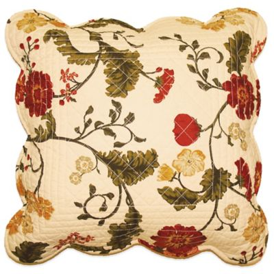 Red Carlisle Floral Quilted Throw Pillow