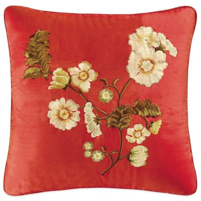 Red Carlisle Embroidered Flower Throw Pillow