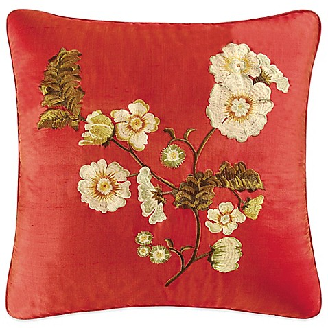 Red Carlisle Embroidered Flower Throw Pillow - www.BedBathandBeyond.com