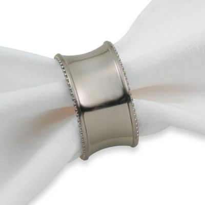 Beaded Elegance Brushed Nickel Napkin Ring