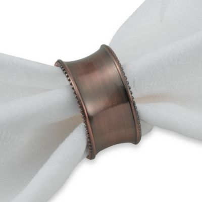 Beaded Elegance Napkin Ring in Oil-Rubbed Bronze