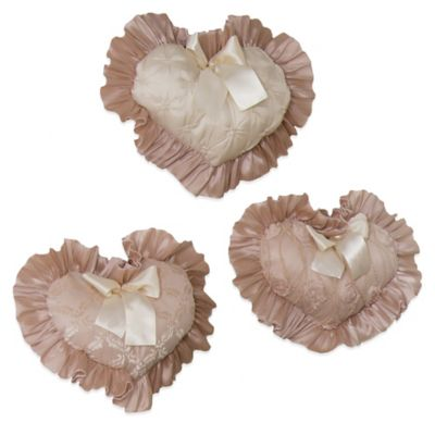 Glenna Jean Paris 3-Piece Heart Wall Hanging Set in Cream/Pink