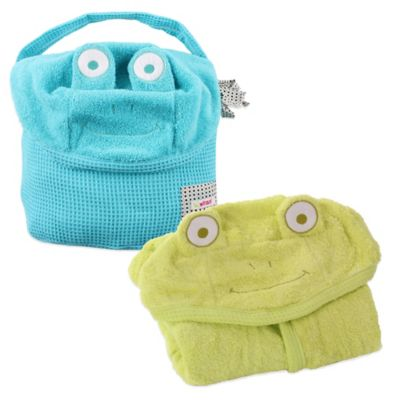 Minene Frog Hooded Towel in Blue