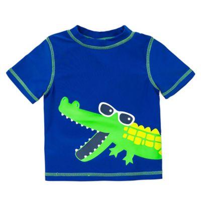 Little Me® Size 6-9M Short Sleeve Crocodile Rashguard in Royal Blue/Green