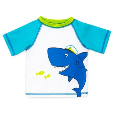 Little Me® Size 6-9M Short Sleeve Shark Rashguard in Turquoise/White
