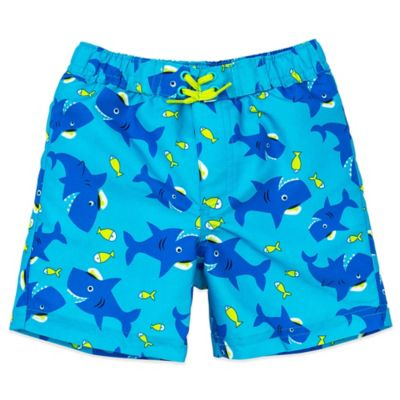 Little Me® Size 6-9M Shark Print Swim Trunk in Turquoise/Blue
